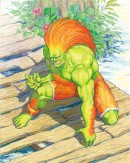 Blanka - Street Fighter II - This illustration of Blanka has been made by Kinu Nishimura for the Street Fighter II CD Book. Blanka is one of the original eight playable Street Fighter II characters and Kinu Nishimura has been one of the most important artists for the Street Fighter series.