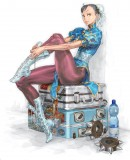 Chun-Li Street Fighter IV Ad - This illustration of Street Fighter character Chun-Li sitting on a suitcase has been made by Japanese artist Kinu Nishimura. He has been one of the most important artists for the Street Fighter series.