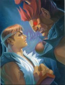 Ryu vs Akuma - This illustration is made by Japanese artist Dai-Chan who worked on two Street Fighter Alpha games. The print is a reproduction of a canvas painting that formed the main image for Street Fighter Alpha 2. What\'s interesting about this image is that Akuma is depicted as being much larger than Ryu while in the games they are the same height.
