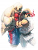Ryu vs Sagat - This illustration was made by Japanese artist Ikeno who has worked on multiple Street Fighter games. The print is concept art for Street Fighter IV. A new feature in Street Fighter IV are the exaggerated 3D facial expressions the game zooms in on on impact. Something clearly illustrated by this image.