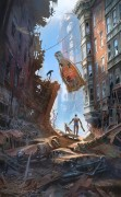 Street Scene Downtown - Fallout 4 - Street Scene Downtown is an official concept artwork used by Bethesda Game Studio\'s for Fallout 4. The image was made by Senior Concept Artist Ray Lederer. This limited edition Certified Art Giclee print is part of the official Fallout 4 fine art collection by Cook & Becker and Bethesda Softworks. The print is hand-numbered and comes with a Certificate of Authenticity signed by the artist.