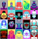 CGA Faces - The Faces series is typical of the work of German artist Sven Ruthner (1980), who has received international appreciation for his pixel art. Ruthner frequently limits himself to the very limited color palettes from the early days of the personal computer, such as CGA, EGA and ZX Spectrum color palettes.