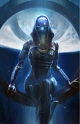 Tali - Mass Effect - The artwork Tali is digitally created concept art for the Mass Effect video game series. Tali is one of the main characters in the games. The image is made by artist Benjamin Huen. This original digital fine art print is hand-numbered, proofed and signed by Mass Effect's Lead Writer Mac Walters, Art Director Derek Watts and Executive Producer Casey Hudson.