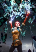 Triss: Butterfly Spell - Witcher 3 - Triss: Butterfly Spell is een van de zogenaamde \'key artworks\' voor The Witcher 3. Deze afbeelding is officiële art voor de videogame The Witcher 3: Wild Hunt van CD PROJEKT RED. De kunstenaar is Bartłomiej Gaweł. Deze Certified Art Giclee™ print maakt onderdeel uit van de officiële The Witcher fine art collection van Cook  Becker en CD ROJEKT RED. De limited edition print is hand-genummerd en komt met een door de kunstenaar gesigneerd Certificaat van Echtheid.