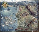 The Witcher 3 World Map  - The Witcher 3 World Map is officiële concept art voor de videogame The Witcher 3: Wild Hunt van CD PROJEKT RED. De kunstenaar is Damien Mammolitif. Deze Certified Art Giclee™ print maakt onderdeel uit van de officiële The Witcher fine art collection van Cook  Becker en CD ROJEKT RED. De limited edition print is hand-genummerd en komt met een Certificaat van Echtheid gesigneerd door CD Projekt\'s Principal Concept Artist Bartłomiej Gaweł.