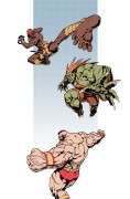 Dhalsim, Blanka, Zangief - This illustration was made by Japanese artist Edayan who has worked on multiple Street Fighter games. These dynamic illustrations are the last Street Fighter characters he drew for Capcom.