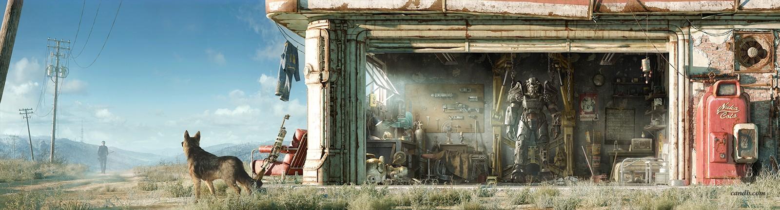 artwork garage exterior fallout 4 bethesda softworks