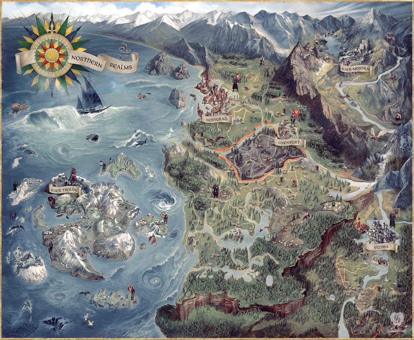 Kunstwerk The Witcher 3 World Map CD Projekt Red